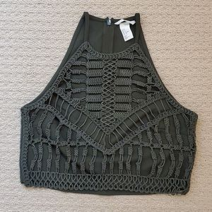 H&M green braided top size s